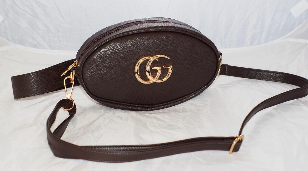 ed6af0d8bf27 Поясная женская сумка-бананка GG, шоколад (коричневая) - Интернет-магазин