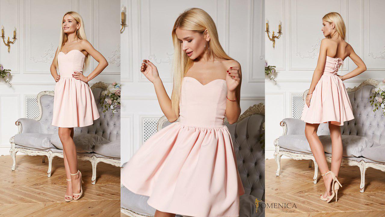 913408089f6e565 Нарядное, женское, летнее платье без бретелей с пышной юбкой и корсетом  (костюмка барби