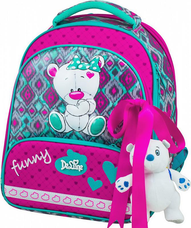 910212a3615e Рюкзак Delune 9-112 школьный ортопедический для девочки мишка, рюкзак для  сменки, пенал 28 см х 16 см х36 см