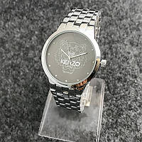 Женские часы Kenzo Fashion со стразами на черном циферблате серебристые, фото 1