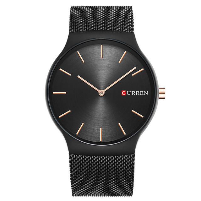 Мужские Часы Наручные Кварцевые Классические Curren (8256) 3 АТМ Черные с Черным Циферблатом