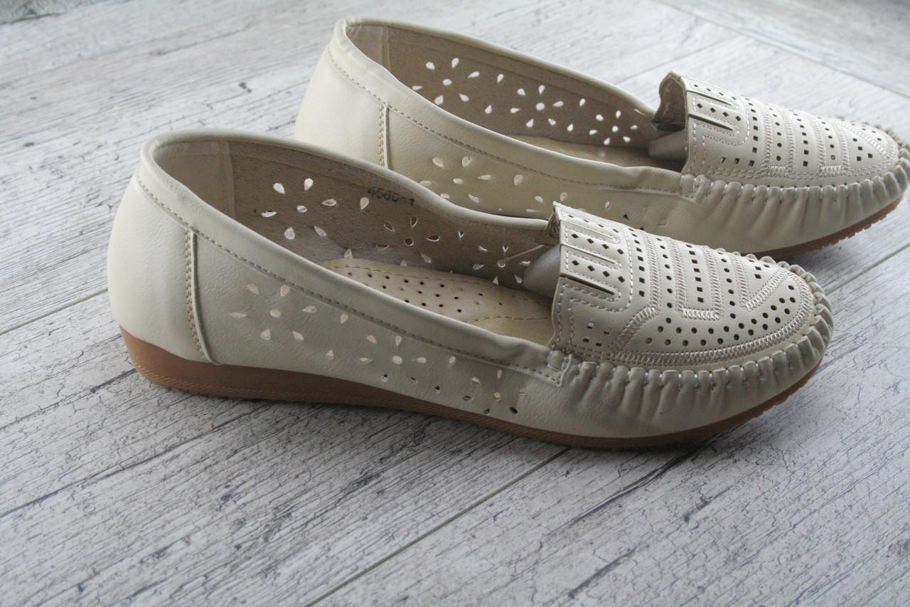 Туфли, мокасины женские с перфорацией Lion, обувь женская весна - лето, повседневная