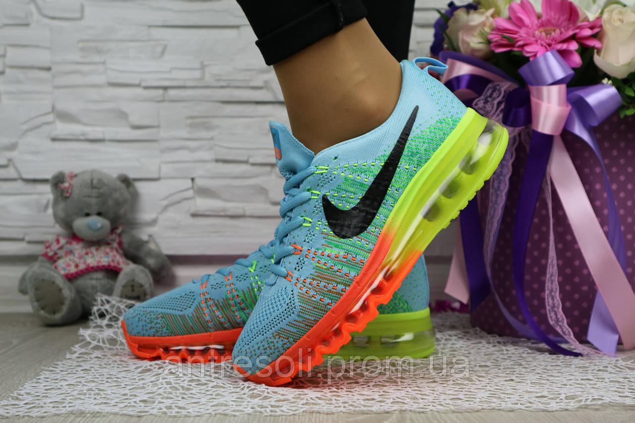 Женские кроссовки Nike Flyknit голубые 10828