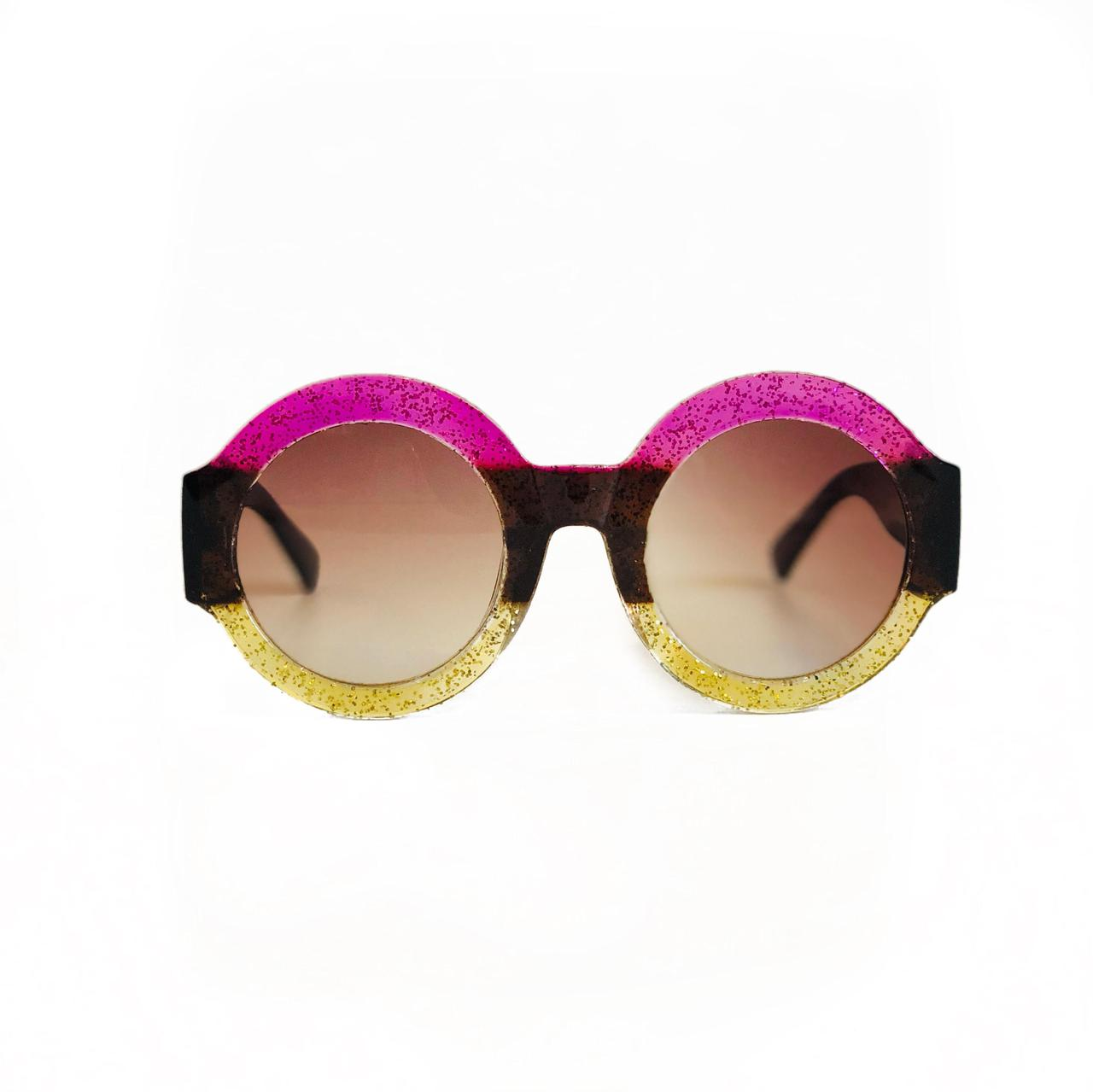 Женские круглые солнцезащитные очки Oversize в розовой оправе