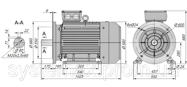 АИР280S4 / АИР 280 S4 / IM 2081 / IM2081 / комб / комбинированный / фланцевый / 110 кВт / 1500 об/мин