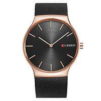 Мужские наручные часы Curren 8256 кварцевые черные с золотом