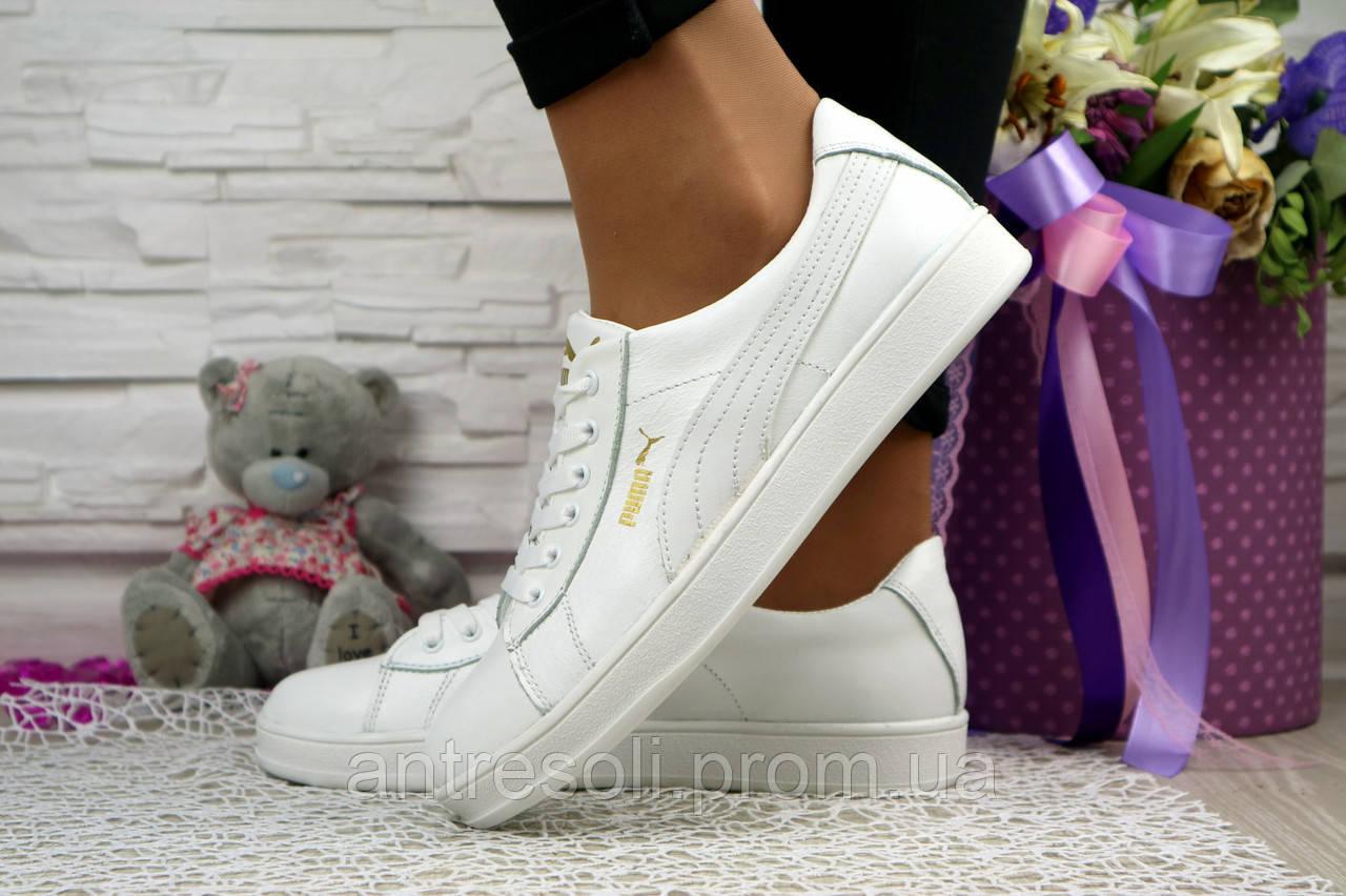 Женские кожаные белые кеды Puma 10847