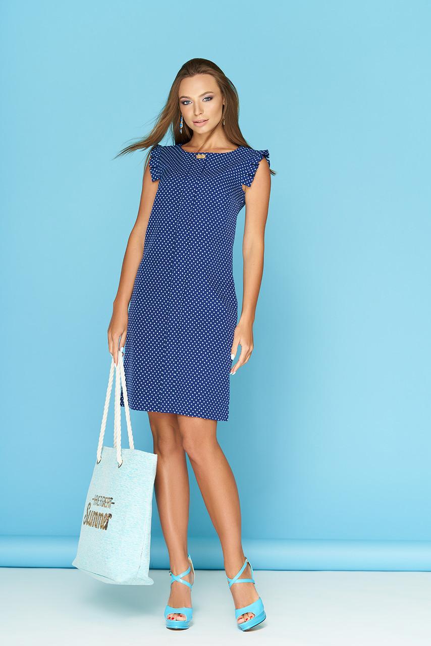 e9baa02d58a Синее летнее прямое платье до колен в горошек без рукавов с рюшами на  плечах