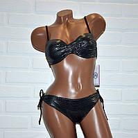Раздельный летний купальник, черный с серебром, размер S, на завязках, с пуш-ап, бикини