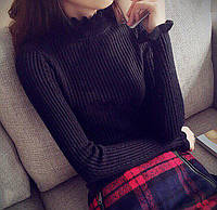 Женский черный гольф свитер