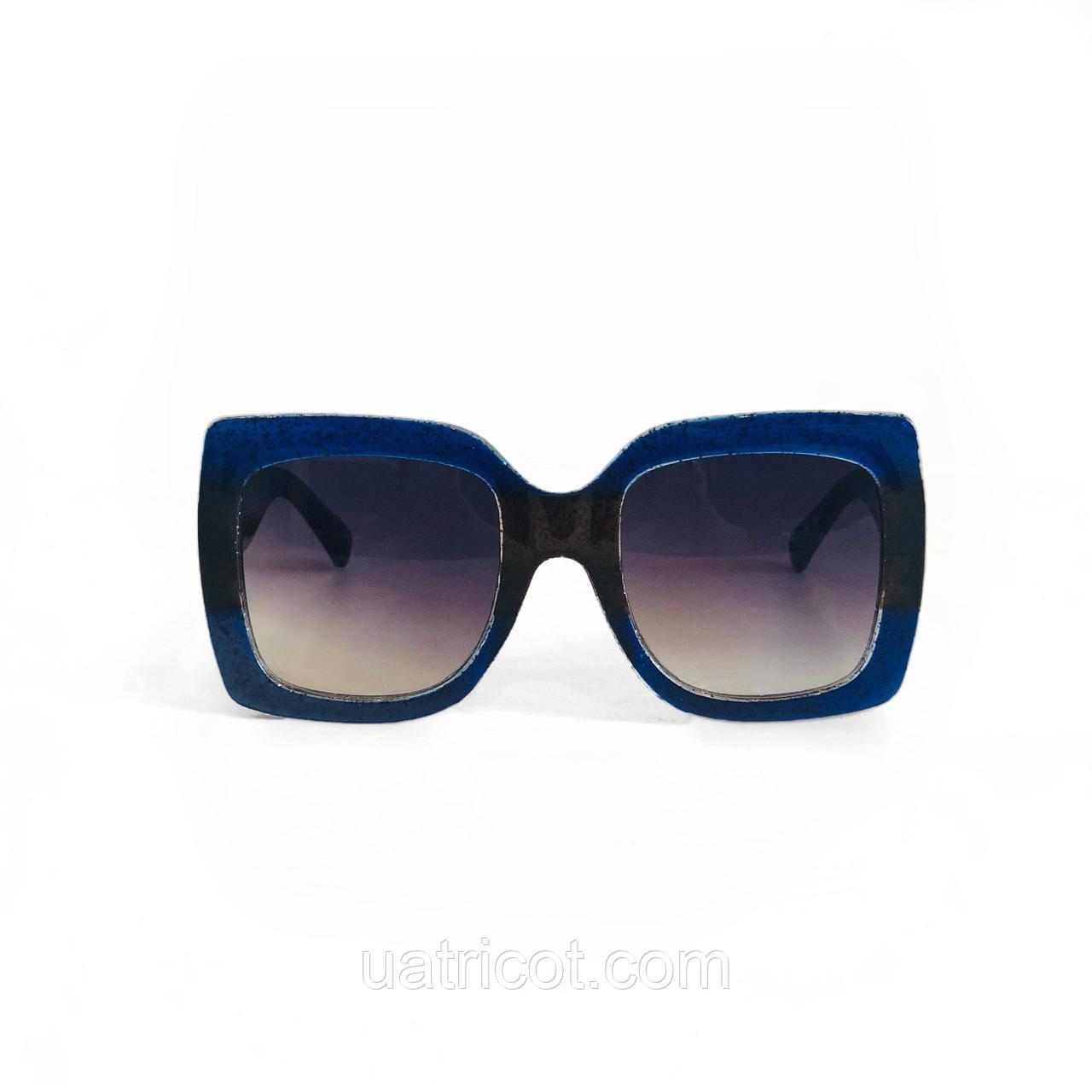 Женские квадратные солнцезащитные очки Oversize в синей оправе