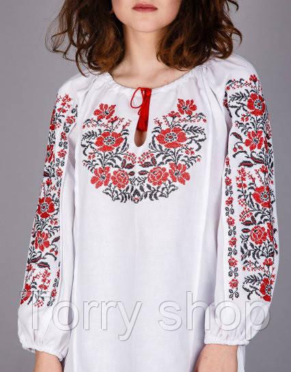 00e63aa12db Вышитая женская сорочка на домотканном лене