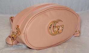 Поясная женская сумка-бананка GG, пудра (светло-розовый)