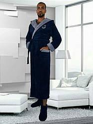Мужской длинный халат с капюшоном,размер M,L.