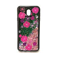 Силиконовый чехол на Samsung J7 2017 J730H Pink жидкий  Цветы с сыпучими блёстками