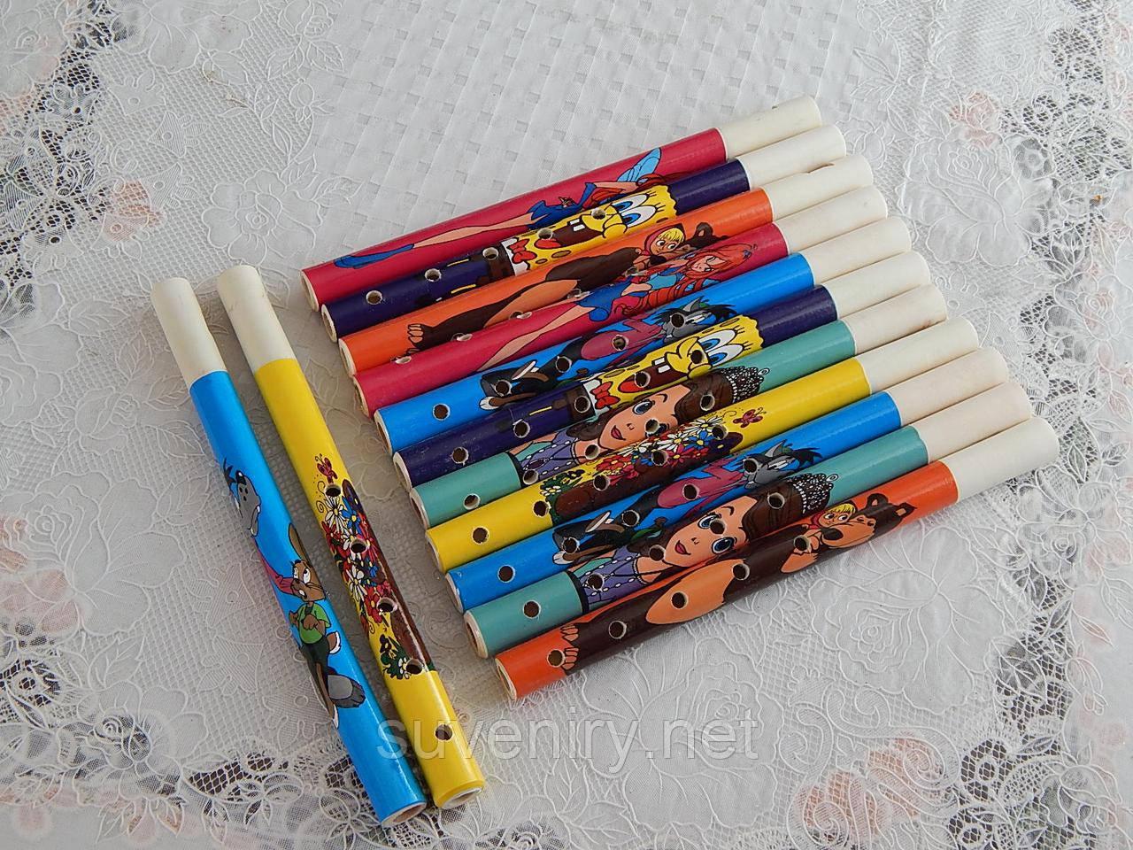 Детские деревянные игрушки дудки сопилки с мультяшками
