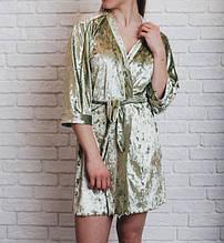 Велюровый качественный Женский халат оливка БП