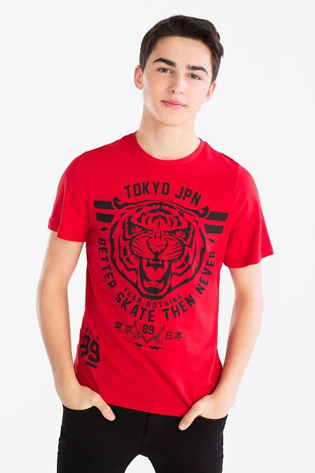 Красная футболка с тигром на мальчика подростка C&A Германия Размер 158-164