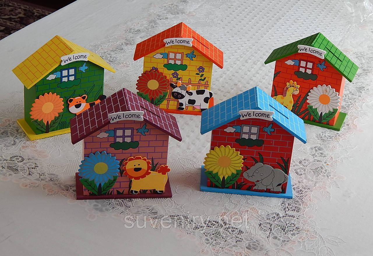 Красивая детская деревянная копилка ввиде домика разные виды