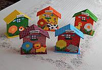 Красивая детская деревянная копилка ввиде домика разные виды, фото 1