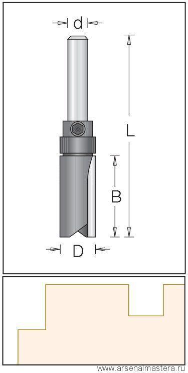 Фреза DIMAR пряма з верхнім підшипником D=25.4 B=45 L=95 d=12