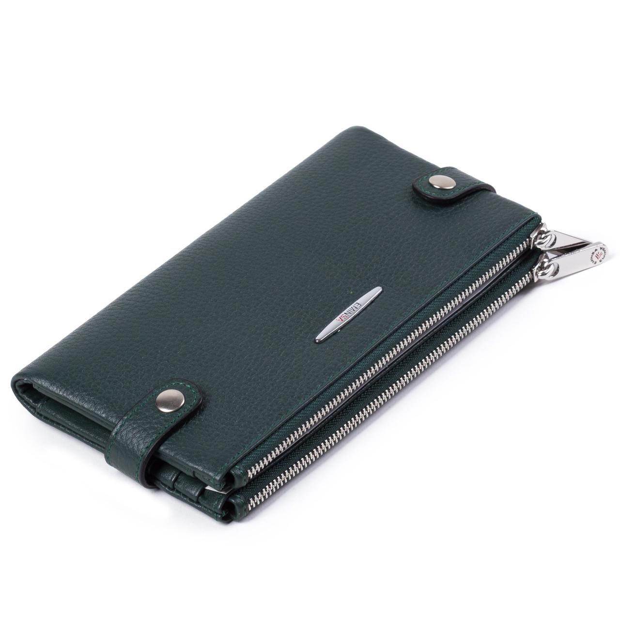 Женский кошелек кожаный зеленый Eminsa 2117-18-16