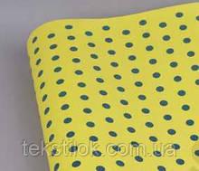 Папір крафт для упаковки подарунків 10 м горохи на жовтому