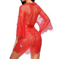 Шикарный женский кружевной мини халат, халатик короткий. Разные цвета, размеры S, M, L, XL., фото 1