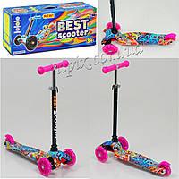 Самокат Best Scooter с ярким принтом и светящимися колесами розовый
