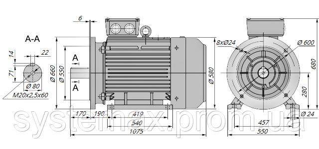 АИР280М4 / АИР 280 М4 / IM 2081 / IM2081 / комб / комбинированный / фланцевый / 132 кВт / 1500 об/мин