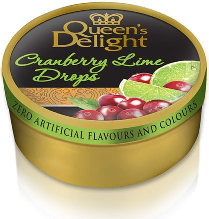Льодяники Queen's Delight 150г Карамелеві з смаком журавлини та лайму