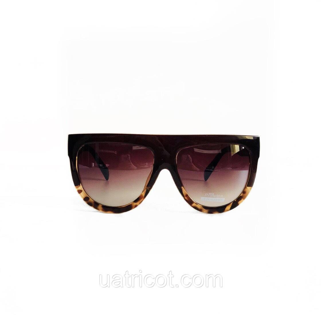 Женские солнцезащитные очки маска в коричневой оправе с коричневыми линзами