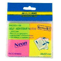 Блок бумаги для заметок NEON 38 x 51мм, 50 листов, ассорти (4 штуки в блистере), с клейким слоем
