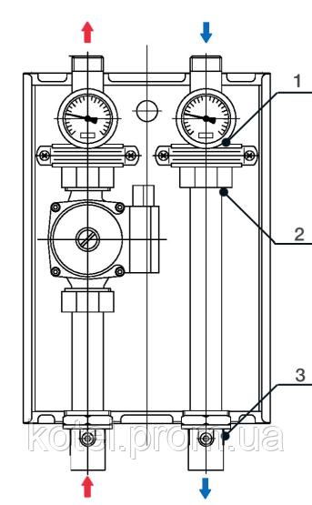 Схема прямой насосной группы быстрого монтажа Termojet НГ-47 DN 25 с насосом WILO STAR RS 25/6