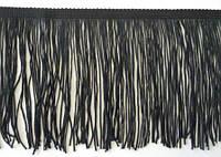 Бахрома танцювальна чорна (лапша, локшина) для одягу 15 см, тасьма 1 см, довжина ниток 14 см