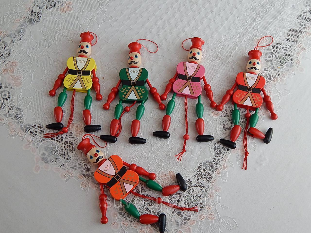 Детская деревянная игрушка клоун разные цвета
