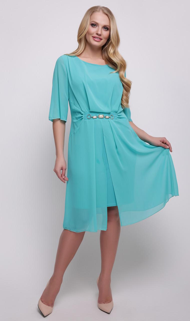 5fd0e9ba147f669 Платье больших размеров чехол легкое нарядное женское летнее трикотаж масло  с шифоном