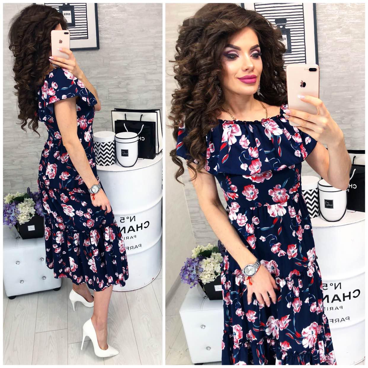 358d4b6995bd Новинка! Летнее платье с воланом ( арт. 101 ), ткань софт, принт цветы на  синем