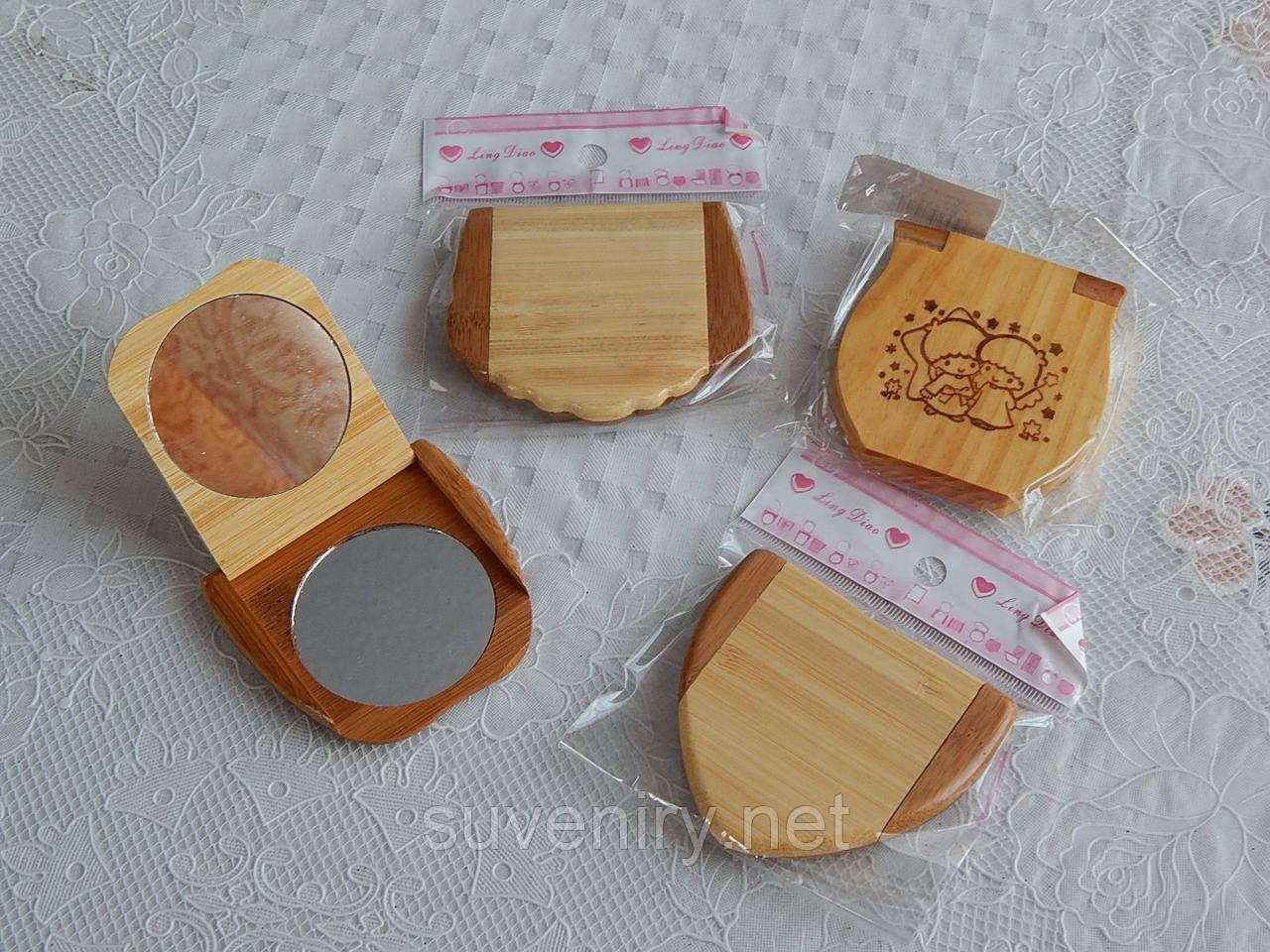Деревянные карманные зеркала косметические разные виды