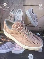 Женские кожаные кроссовки с жемчугом Alpino, фото 1