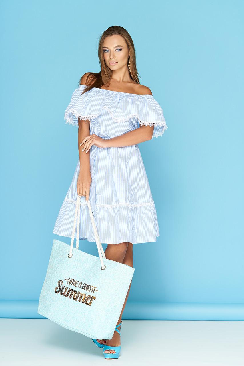 Летнее платье с рюшами кружевами и поясом в полоску до колена голубое
