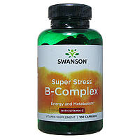 Комплекс витаминов группы B с витамином C Супер Стресс, 100 капсул, Swanson, CША