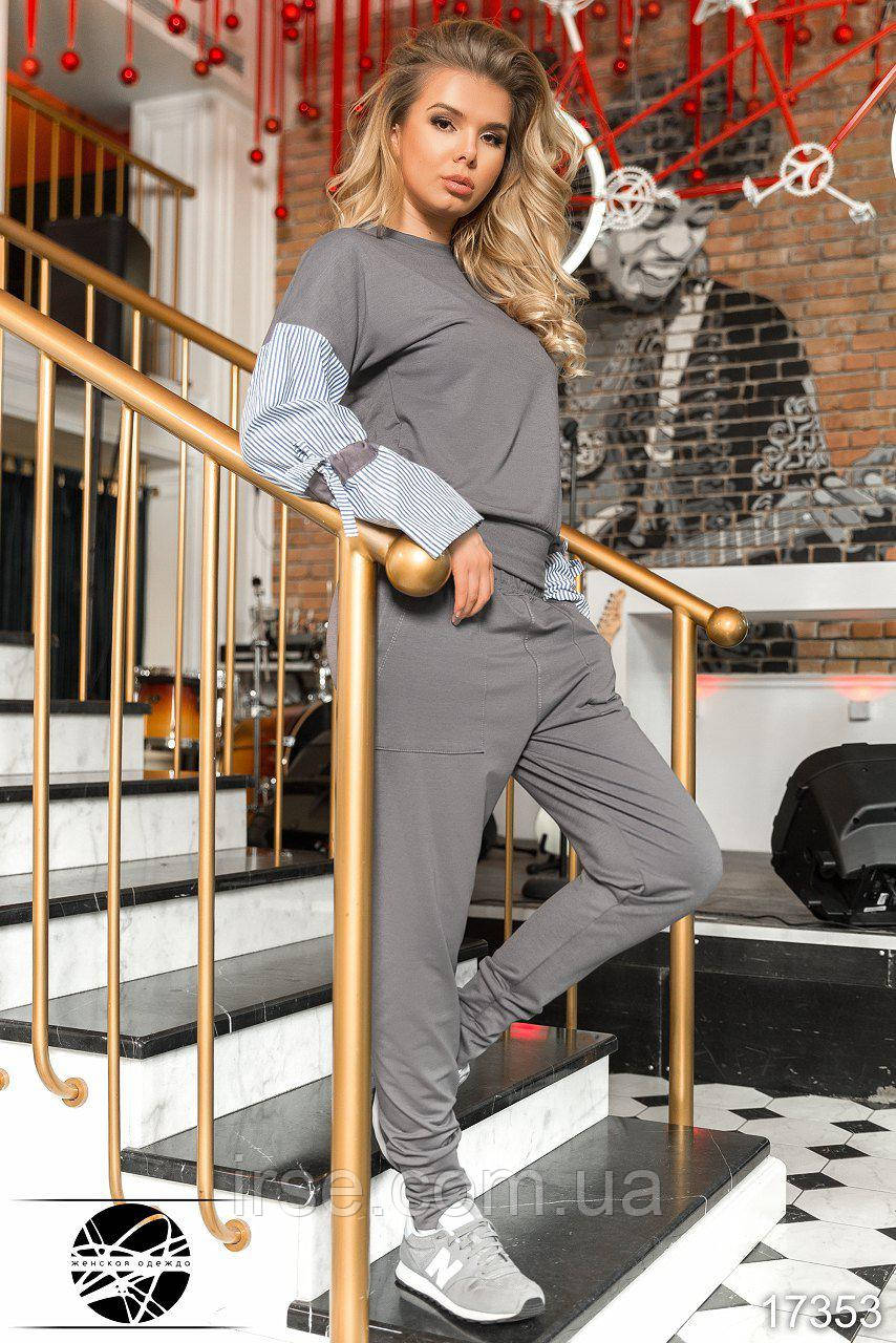 c51dc2e4dfc Женский спортивный костюм серого цвета с рукавами в полоску. Модель 17353.  Размеры 42-50