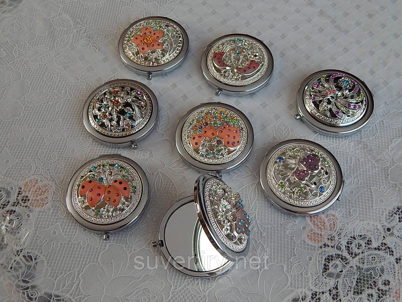 Шикарные металлические женские карманные зеркала разные виды
