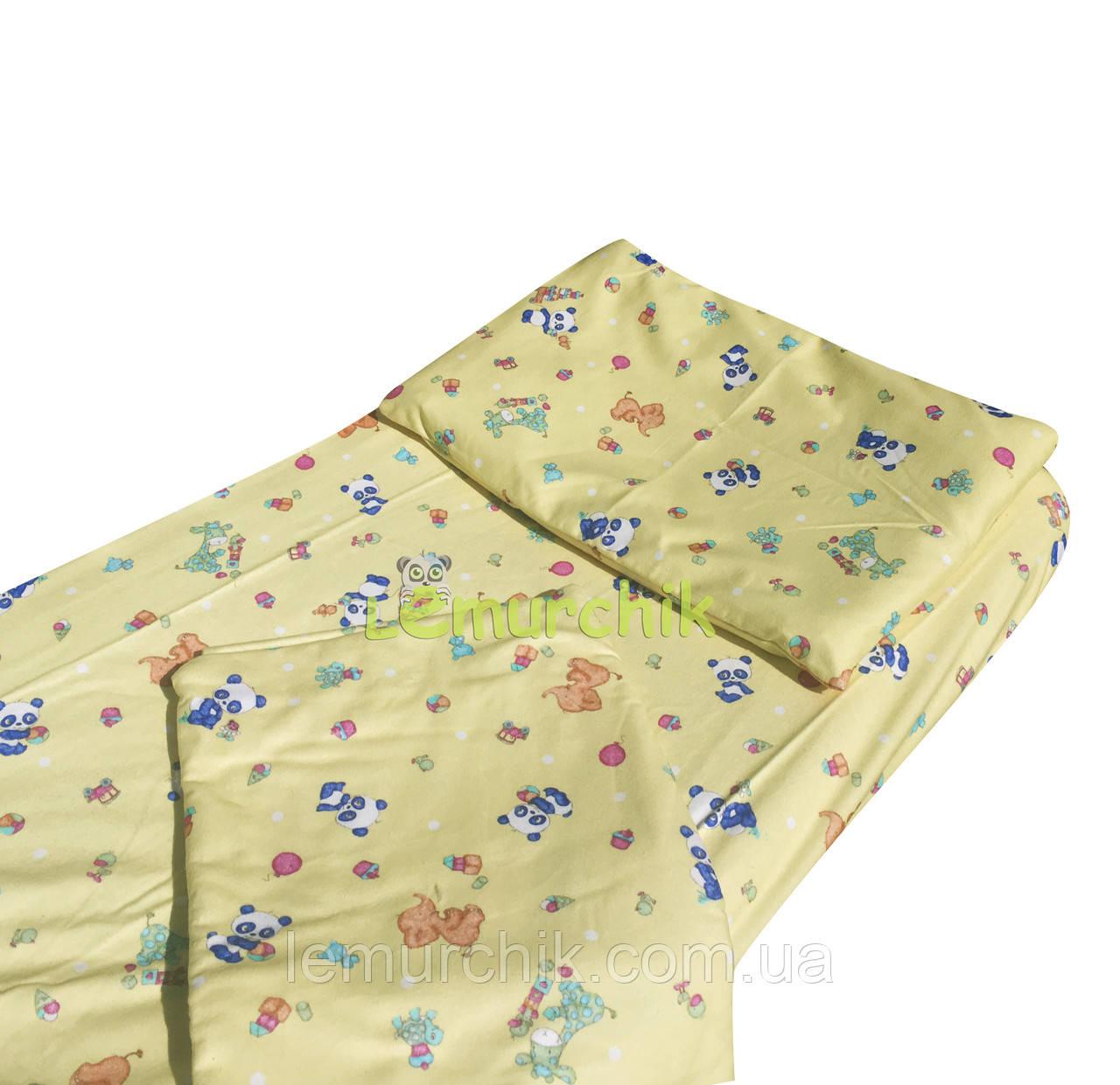 Постільний набір в дитячу ліжечко байковий (3 предмета), Панди жовте