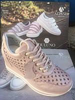 Женские кроссовки на танкетке из натуральной кожи Alpino, фото 1