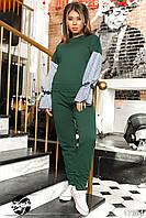 Женский спортивный костюм зеленого цвета с рукавами в полоску. Модель 17364. Размеры 42-50, фото 1