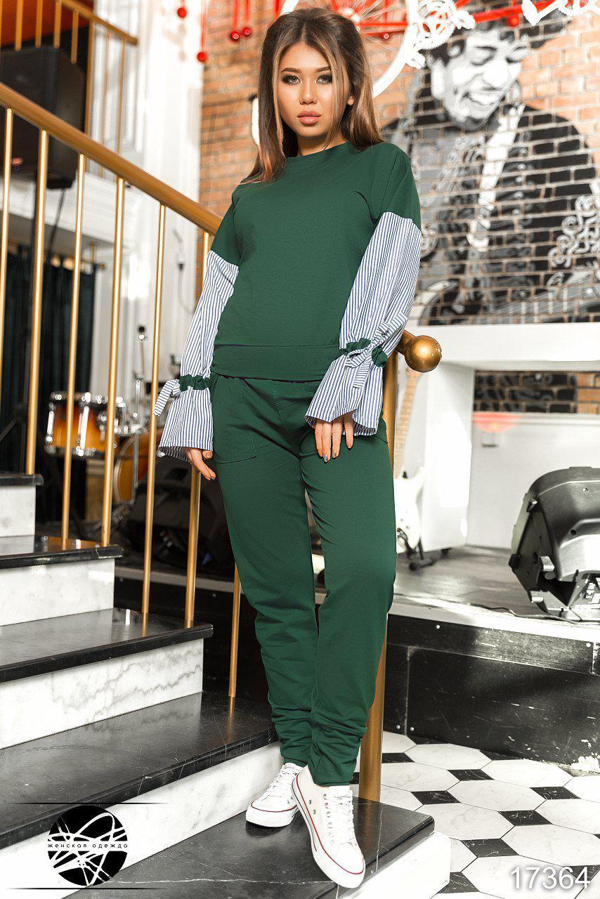 Женский спортивный костюм зеленого цвета с рукавами в полоску. Модель 17364. Размеры 42-50