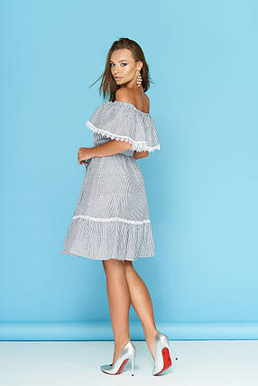 Летнее платье с рюшами кружевами и поясом в полоску миди полоса черная, фото 2