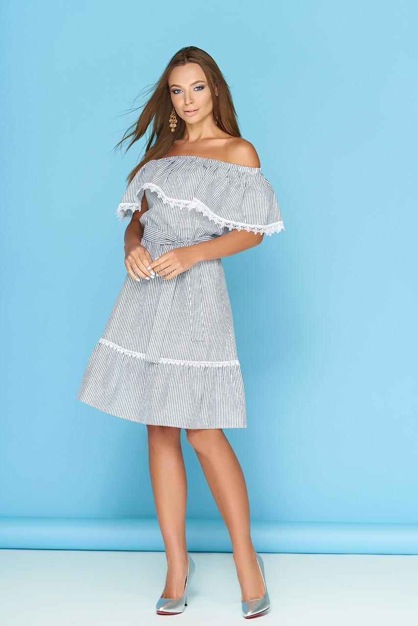 Летнее платье с рюшами кружевами и поясом в полоску миди полоса черная